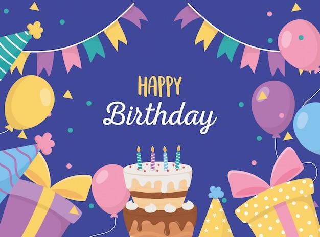 Buon compleanno, candele candeline regali palloncini cappelli celebrazione poster