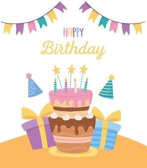 Buon compleanno, celebrazione della decorazione delle stamine dei cappelli del partito dei contenitori di regalo della torta