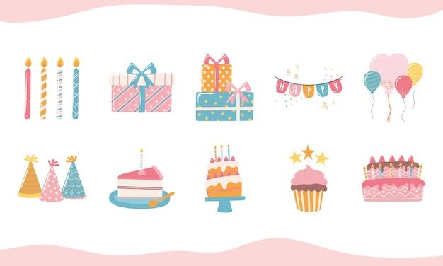 Buon compleanno torta cappello candela scatole regalo e palloncini celebrazione festa icone del fumetto illustrazione