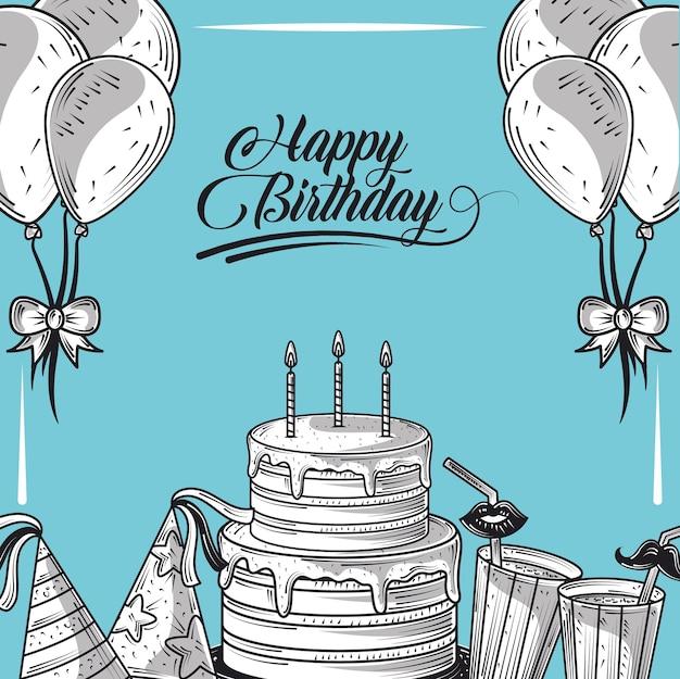 Torta di buon compleanno con cappello di palloncini candela e festa di bevande, sfondo blu stile incisione