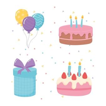 Buon compleanno, torte regalo e palloncini celebrazione festa fumetto illustrazione