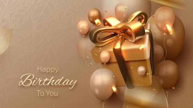 Sfondo di carta di buon compleanno, confezione regalo con palloncini e nastro dorato intorno, sfondo di lusso in stile 3d, design moderno dell'invito del modello. illustrazione vettoriale realistico.