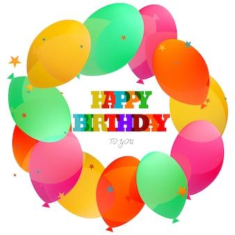 Celebrazione della carta di buon compleanno con sfondo di palloncini