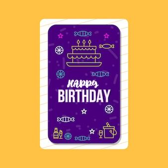 Modello di disegno di carta di buon compleanno