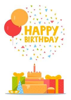 Happy birthday card design con palloncini, coriandoli, torta e confezione regalo. illustrazione vettoriale.