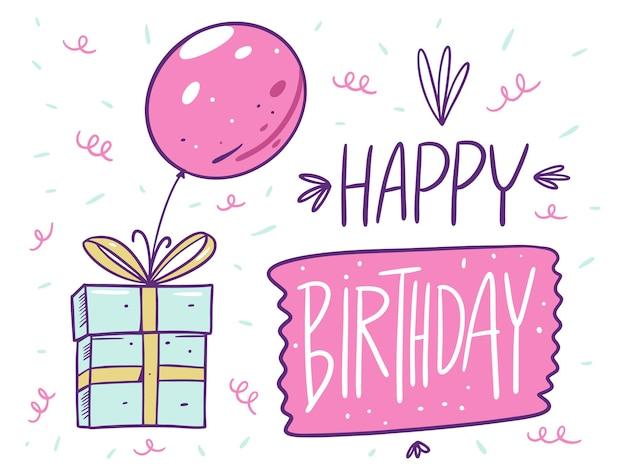 Carta di buon compleanno. lettering e confezione regalo con palloncino. in stile cartone animato. isolato su sfondo bianco. design per banner, poster e web.