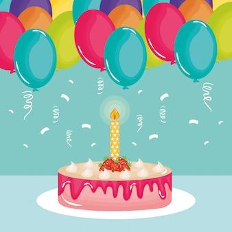 Card di buon compleanno, torta dolce e candela con palloncini elio