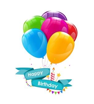 Modello di biglietto di buon compleanno con palloncini, nastro e candela ve