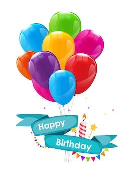 Modello di carta di buon compleanno con palloncini, nastro e candela illustrazione vettoriale eps10