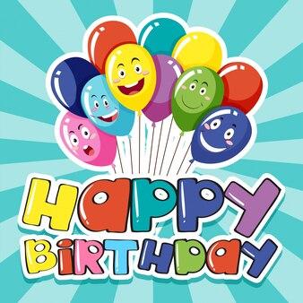 Modello di scheda felice con palloncini colorati