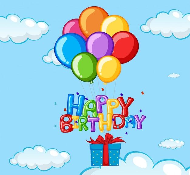 Cartolina di compleanno con palloncini e presenti