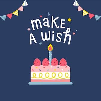Scheda di buon compleanno con torta in stile piano