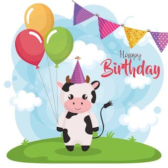 Carta di buon compleanno con mucca