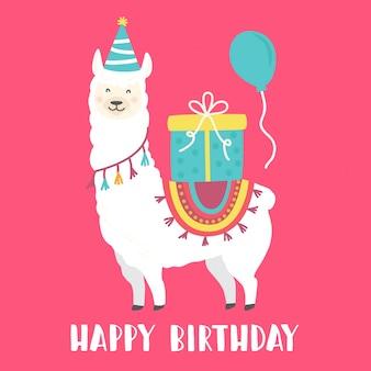Scheda di buon compleanno con lama simpatico cartone animato