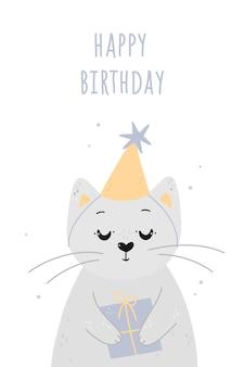 Carta di buon compleanno con simpatico gatto e regalo