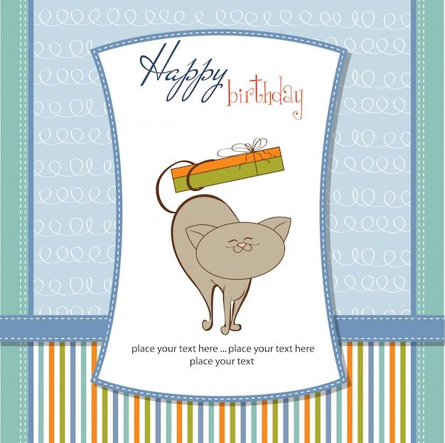 Scheda di buon compleanno con gatto carino