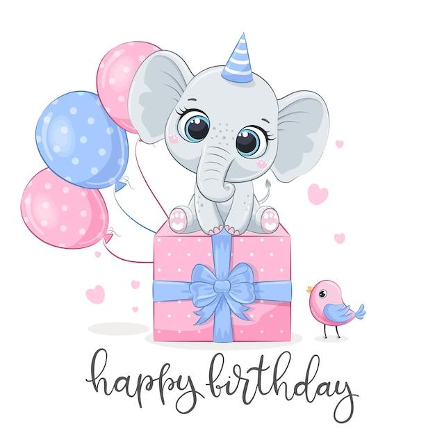 Card di buon compleanno con elefante carino con palloncini e regalo