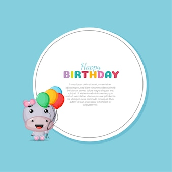 Scheda di buon compleanno con ippopotamo carino