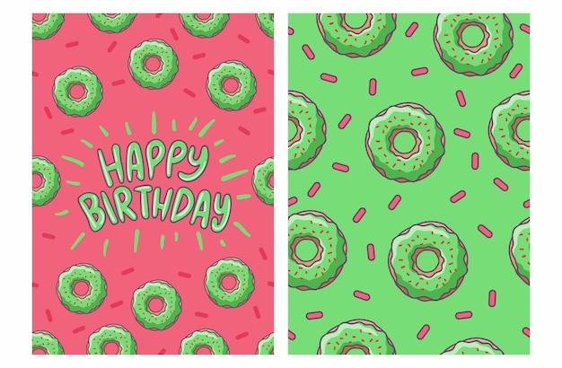 Carta di buon compleanno con motivo a ciambella