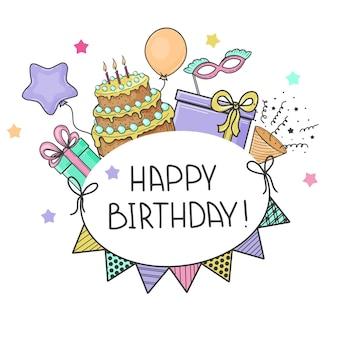 Scheda di buon compleanno con elementi festivi. disegnato a mano, schizzo. torta, bandiere, maschera, palloncino, confezione regalo. illustrazione vettoriale.