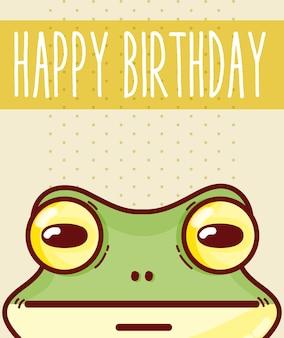 Biglietto di auguri per il compleanno felice con progettazione grafica dell'illustrazione di vettore del fumetto della rana