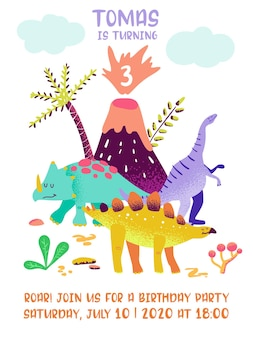Biglietto di buon compleanno con dinosauro divertente, annuncio di arrivo dino, saluti in illustrazione vettoriale