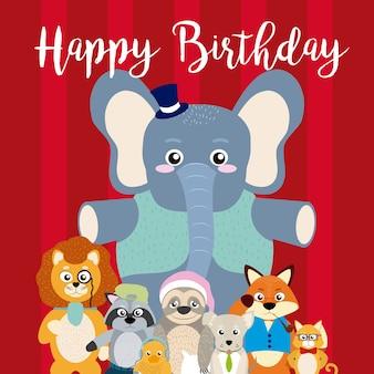 Scheda di buon compleanno con cartoon animali divertenti