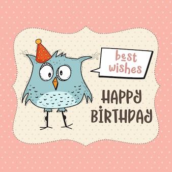 Carta di buon compleanno con uccello divertente di doodle