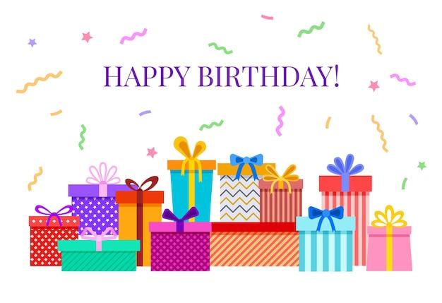 Carta di buon compleanno con scatole regalo. illustrazione di saluto festa celebrativa con coriandoli colorati, fiocchi di nastro. illustrazione mucchio di scatola regalo di compleanno, celebrazione e festa festiva