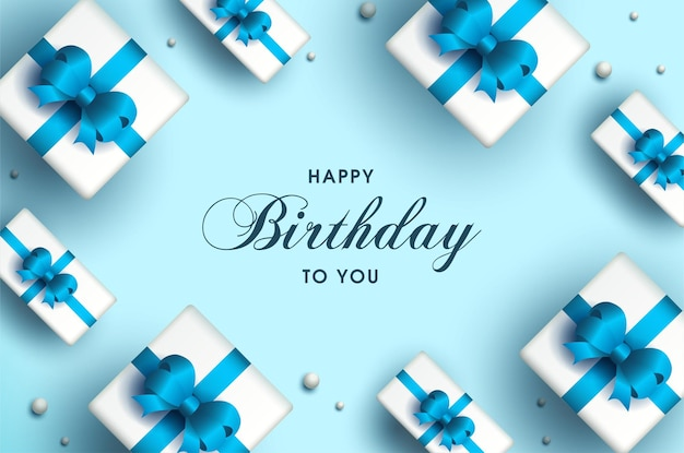 Carta di buon compleanno con scatole regalo incandescente