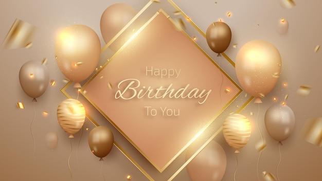 Scheda di buon compleanno con palloncini di lusso e nastro. stile realistico 3d. illustrazione vettoriale per il design.