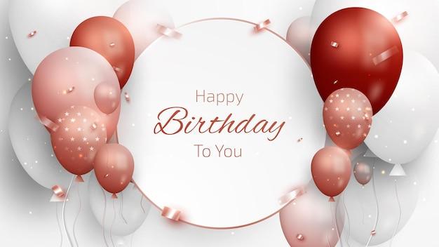 Scheda di buon compleanno con palloncini rossi di lusso e nastro. stile realistico 3d su sfondo bianco. illustrazione vettoriale creativo per il design.