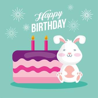Scheda di buon compleanno con disegno di illustrazione vettoriale scena di coniglio e torta
