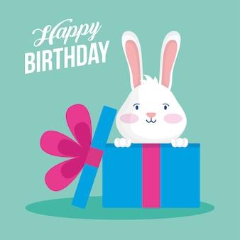 Scheda di buon compleanno con coniglio nella progettazione dell'illustrazione di vettore di scena del regalo
