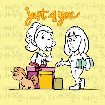 Scheda di buon compleanno con personaggio dei cartoni animati due ragazza