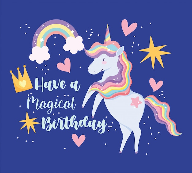 Scheda di buon compleanno con unicorno con capelli arcobaleno