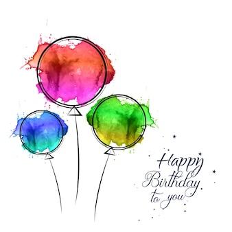 Scheda di buon compleanno con palloncini disegnati a mano dell'acquerello