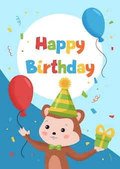 Modello di carte di buon compleanno per cartoline e inviti. scimmia divertente del fumetto con palloncini e regali.
