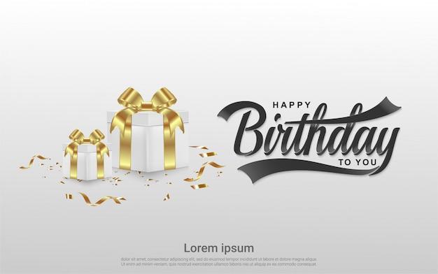 Celebrazione di buon compleanno con sfondo realistico scatola regalo