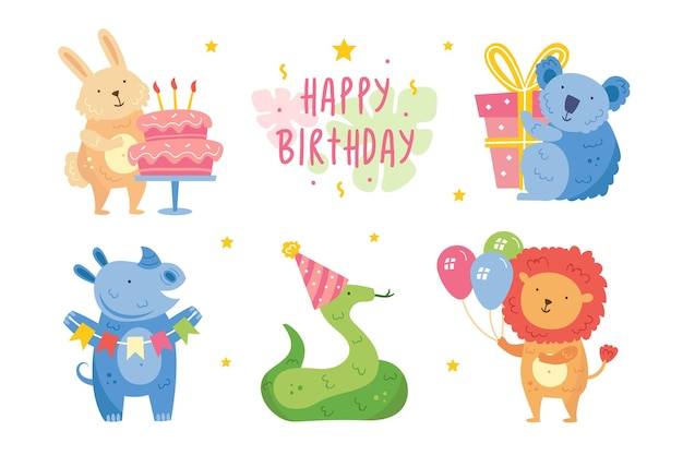 Set di clip art di buon compleanno simpatici animali che festeggiano insieme coniglio koala rinoceronte serpente leone