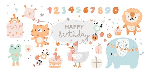 Collezione di buon compleanno con animali dei cartoni animati, regali, torte