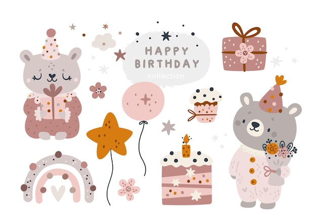 Collezione di buon compleanno con animali del fumetto dell'orsacchiotto. celebrazione boho elementi di design