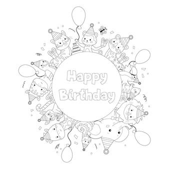 Pagina da colorare di buon compleanno per i bambini. animali da zoo simpatico cartone animato.