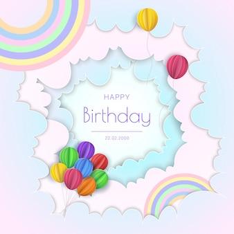 Concetto di buon compleanno. palloncini in nuvole. carta e arte artigianale