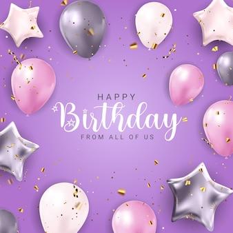 Buon compleanno congratulazioni banner design con coriandoli, palloncini e nastro glitterato lucido per sfondo festa festa. illustrazione vettoriale eps10