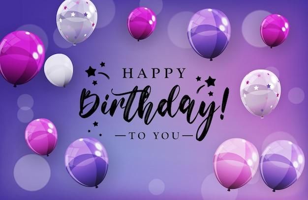 Buon compleanno congratulazioni banner design con coriandoli palloncini e nastro glitter lucido