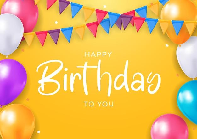 Buon compleanno congratulazioni banner design con palloncini di coriandoli per sfondo festa festa Vettore Premium