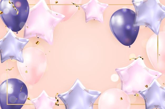 Buon compleanno congratulazioni banner design con coriandoli