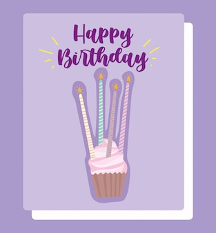 Buon compleanno, cupcake con candele luminose cartoon celebrazione decorazione carta