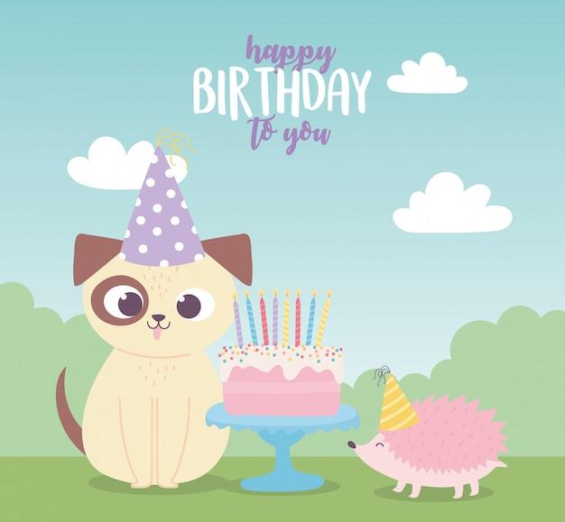 Buon compleanno, riccio cane carino con torta e cappelli festa celebrazione decorazione cartoon